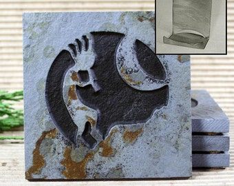 Etched Natural Stone Coaster Set with Holder - Kokopelli 3 on Copper Slate