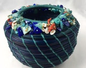Embellished Blue Pine Needle Basket by Marcie Stone