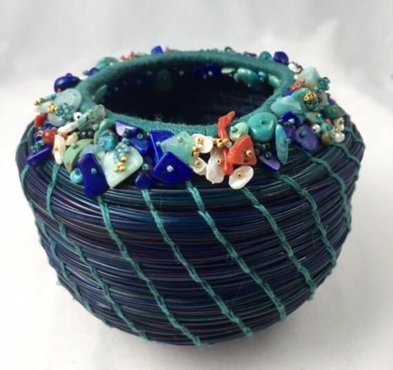 Embellished Blue Pine Needle Basket by Marcie Stone