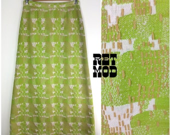 Unique Vintage 60s 70s Lime Green & Beige Brutalist Textured Pattern Long Skirt!