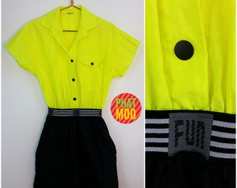 WOW! Vintage 80s 90s Neon Yellow and Black FUN Romper! Too RAD!!