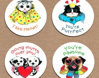 Pawsome Valentine Large Stickers Set of 12