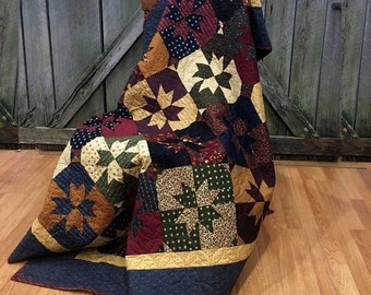 """Throw Quilt Bees N Bloom HANDMADE Patchwork Quilt Moda Kansas Troubles Blue Brown Red Navy 60x70"""""""