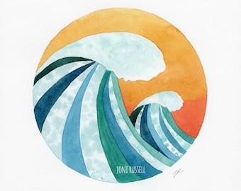 Sunset Surf, original watercolor