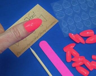 Finger Nail Art Manicure Kit Press On Nails Fake Arcylic Pedicure Summer Finger File Cuticle Tool Adhesive Carmine