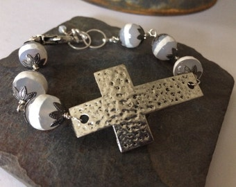 Hammered Silver Cross and White Banded Agate Bracelet