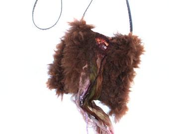 Handmade Felted Bag Alpaca Wool Small Shoulder Purse Undyed OOAK Felt Gift
