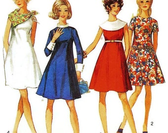 1960s Princess Seam Dress Pattern Simplicity 8304 B36 Sz 14
