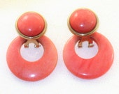Vintage Coral Semi-Precious Stone Quartz Dangling Door Knocker Clip Earrings  (E-1-4)