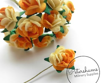 12 Miniature Paper Roses Flower Wired Picks for Millinery - Sunset Orange & Cream