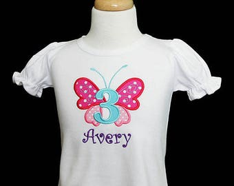 Butterfly Birthday Shirt or Bodysuit, Made For Any Age, Any Colors, Personalized Butterfly Birthday Shirt