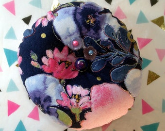 "Pincushion Kathy Davis ""Scatter Joy"" Print, Quilted top and FreeMotion Stitching in Blue and Pink- Made to Order"