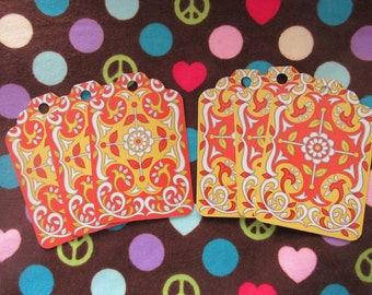 Bohemian Chic-Set of 6 Gift Tags Made From Upcycled Playing Cards
