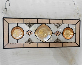 Stained Glass Window Panel, Stained Glass Transom Window, OOAK Valance Marigold Jeannette Floragold Louisa Pattern Depression Glass Plate