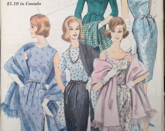 Vintage Vogue Wiggle Dress and Stole Pattern c. 1961 60s 1960s 36 bust UNCUT FF 5236 size 16 Round Scoop Neck