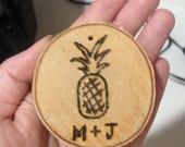 Personalized Birch Ornament with Pineapple Design
