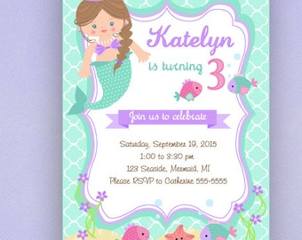Mermaid Birthday Invitations, Purple, Lilac, Turquoise, Teal, PRINTED Invitations