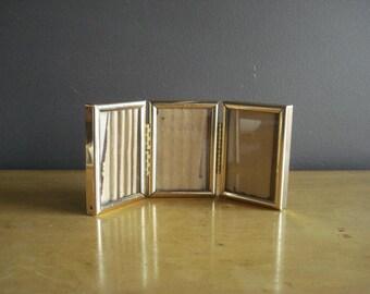 Brass Frame Trio - Set of Three Hinged Vintage Brass Picture Frames - Tri-fold Photo Frames