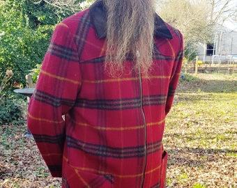 45% OFF Mens Vintage Coat, Plaid Coat, 80s Coat, Ranch Coat, Equestrian Coat, Wool Coat, Vintage Jacket by FS Sport Size M