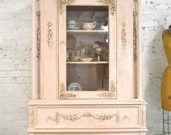 Painted Cottage Chic Shabby Aqua Romantic French China Cabinet CC899