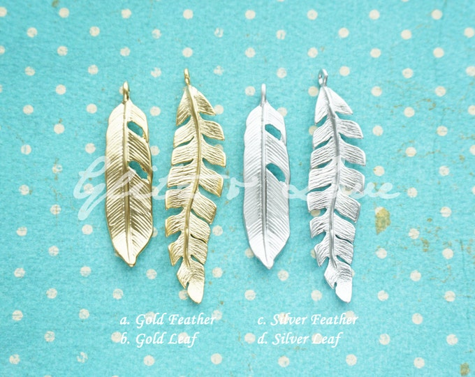 Add a Charm - Silver or Gold Golden Silver Feather Leaf, floral filigree oriental, autumn, summer, spring, Personalised, silver rose gold