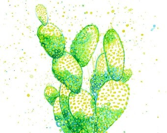 minimalist watercolor print: cactus reef
