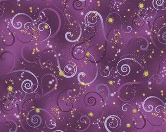 Kanvas By Benartex - Dance of the Dragonfly - Swirling Sky w/ Metallic Gold - Deep Purple - Fabric by the Yard 8500MB-66