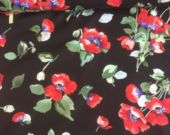 Timeless Treasures Fresh Cut  Poppy Bunches Floral  Fabric by the yard or select cut C4724-BLK