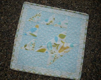 wing and leaf mini quilt - FREE SHIPPING