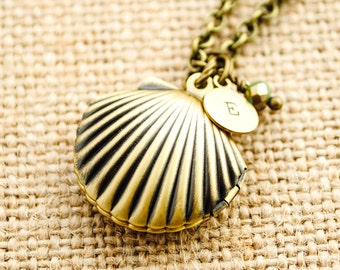Shell Locket - Personalized - Custom Necklace - Initial Necklace - Monogrammed Jewelry - Beach Jewelry, Mermaid, Nautical