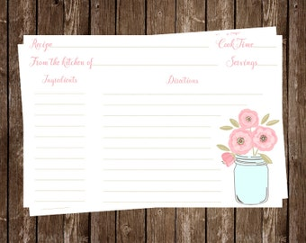 Mason Jar, Recipe Card, Bridal Shower, Pink, Flowers, Country, Wedding, Brown, Rustic, Vintage, Chic, 24 Printed Cards, FREE Shipping, MAJAP