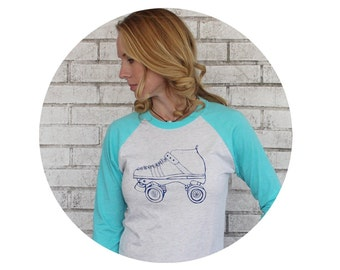 Unisex Baseball Tee, Roller Skate Shirt, Long Sleeve Aqua and Heather White Graphic Tshirt, Roller Skating, Roller Derby, Gift for Skater