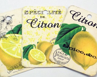 Lemon Gift Tags - Set of 9 - Vintage Lemons - Citrus Tags - Fruit Tags - French Script - Yellow And Green - Summer Fruit - Thank Yous