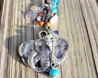 Elephant Crochet Turquoise Bone Orange Extra Long Statement Necklace Bohemian Mother Wife Birthday Valentine's Day Jewelry Ready to Ship