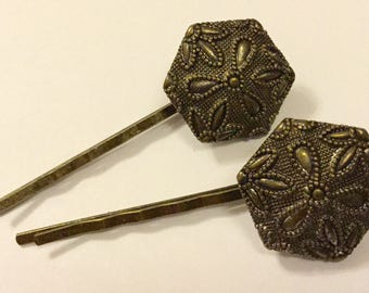 Vintage Filigree Metal Button Hair Slides Art Deco Bronze Wedding Bridesmaid Clips Grips Pins Combs Hairgrips Hairclips