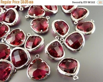 15% SALE 2 red ruby glass stone in textured silver bezel setting, colorful glass pendants for jewelry making 5058R-RU (bright silver, ruby,