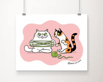 Cats Playing Cat's Cradle 8x10 print