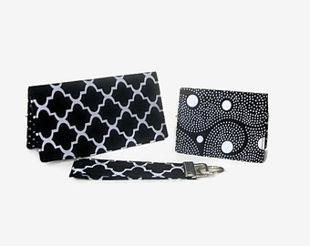 Checkbook Cover, Credit Card / Business Card Holder, Key Fob - Black Fabric Purse Accessory Set - 3 Piece Set - Mini Wallet