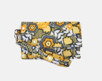 Cushioned Phone Wristlet Wallet - Yellow and Gray Trifold Wallet - Padded Wristlet - Phone Pouch - Gray Clutch