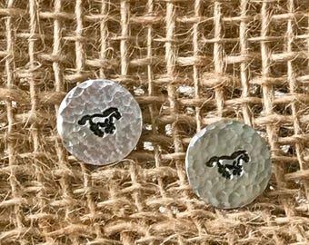 Horse Post Earrings, Handstamped Horse Earrings, Horse Jewelry, Horses, Horses Etsy, Horse Jewelry Etsy, Horse Earrings Etsy, Horse Earrings