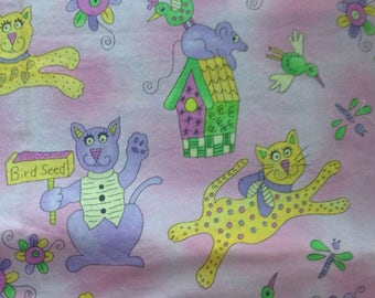 Krazy Kats by Mary Lou Weidman for Benartex- Yellow and Lilac Cats -Quilt Fabric - 3/4 Yard