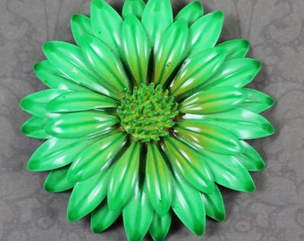 Vintage Bright Green Large Enamel Flower Brooch