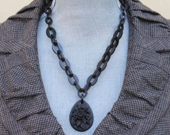 Antique Victorian Mid 1800s Vulcanite Carved Floral Pendant with Linked Chain Necklace