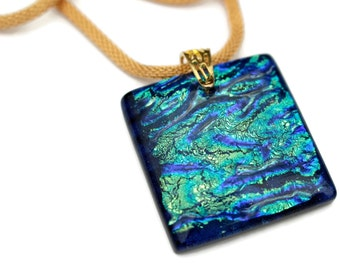 Dichroic Glass Pendant, Blue Gold and Teal Necklace, Large Pendant, Fused Glass Necklace, Gold and Blue