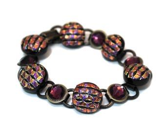 Dichroic and Swarovski Bracelet, Purple Bracelet, Brass Disc and Loop Bracelet