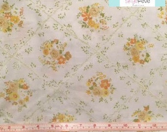 Twin Vintage Fitted Sheet with Yellow and Orange Flowers