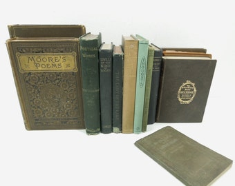 Antique Vintage Poetry Books - Instant Library Poems - Literary Literature Book Stack - Old Books