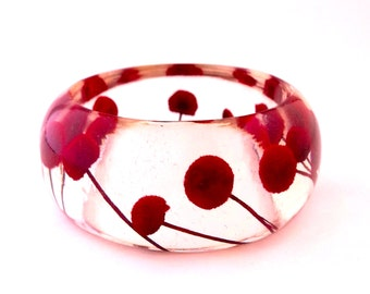 Size Small Red Button Flowers Bangle.  Pressed Flowers.  Contemporary Resin Jewelry. Personalized Engraved Gift. Christmas Gift.