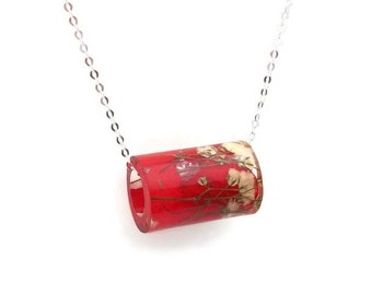 Resin Tube Necklace with Red Hydrangea and White Baby's Breath.  Resin Jewelry with Real Pressed Flowers.