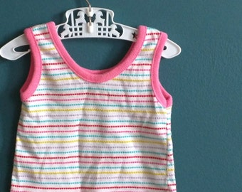 Vintage Baby Girl's Pastel Striped Ringer Tank Top - Size 3 Months